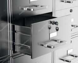 open file cabinet. File Cabinet With Open Drawer \u2014 Stock Photo