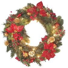 ... Most Decorating Christmas Wreaths Astonishing Pre Lit Decorated Lighted  ...