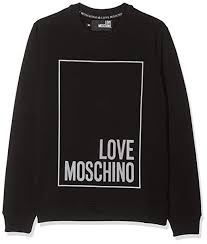 Love Moschino Mens Logo Box Print_ Long Sleeve Sweater