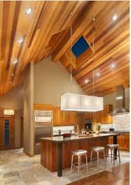 kitchen with wooden vaulted ceiling and recessed lights and hanging lighting vaulted ceiling lighting fixtures