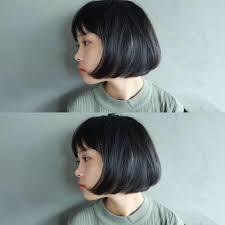 重めだけど髪が柔らかく自由に動くナチュラルボブ 毛先にパーマを