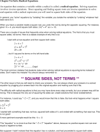 square both sides in general you solve equations by isolating the variable you