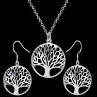 sa silverage zircon tree of life necklace 14k gold plated round pendant for women wholesale lots bulk 2019 new style