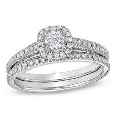 1 2 ct t w diamond frame bridal set in 14k white gold round Wedding Band Sets Zales t w diamond frame bridal set in 14k white gold wedding band sets zales