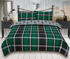 check stag tartan deer antlers bedding single double