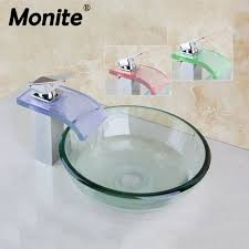 clear vessel sink. Brilliant Clear Round Painting Bathroom Art Washbasin Tempered Clear Glass Vessel Sink With  Waterfall Brass LED Faucet And N