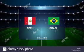 Il Perù vs brasile calcio scoreboard grafica broadcast modello di calcio  Immagine e Vettoriale - Alamy