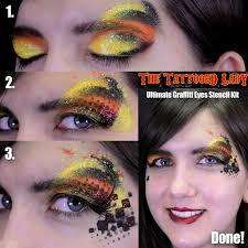 step by step graffiti eyes makeup using stencils