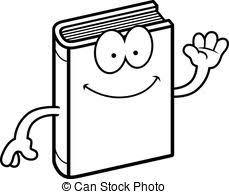 cartoon book waving a cartoon ilration of