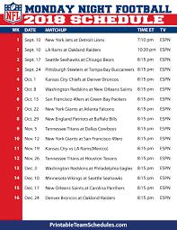 Printable Monday Night Football Tv Schedule 2019