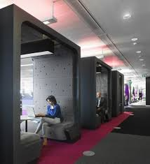 Internal office pods Simple Garden Breathtaking Creative And Colorful Bbc North Office Cool Black Square Meeting Pod Design With Shedworking Interior Design Cool Black Square Meeting Pod Design With Gray Seat