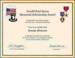 Scholarship Certificate Template For Word Memorial Scholarship Certificate Template 9609