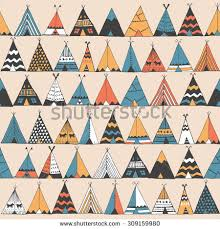 Teepee Pattern Best Teepee Pattern Wigwam Native American Summer Stock Vector Royalty