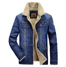 men s fashion plus wool denim jacket field jeep leisure and thickening of the cowboy clothing warm in the winter coat blue and dark blue man with jacket