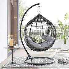 Modway Garner Outdoor Patio Wicker Rattan Teardrop Swing Chair In Gray Gray Garden Outdoor
