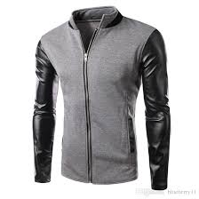 winter cool college baseball jacket men fashion design black pu leather sleeve mens slim fit jacket gray canada 2019 from blueberry11 cad 30 11 dhgate