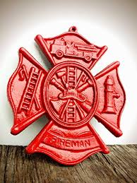 bright fire engine red firefighter maltese cross metal wall art hanging rustic fireman symbol cast on maltese cross firefighter metal wall art with amazon bright fire engine red firefighter maltese cross metal