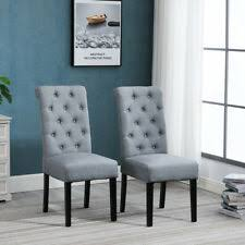 2x grey on tufted high back dining chairs fabric upholstered room kitchen