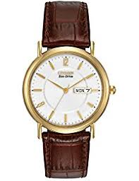 amazon co uk citizen watches citizen eco drive men s gold tone leather watch