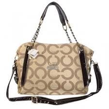 Coach Chain Logo In Monogram Medium Khaki Totes BOI