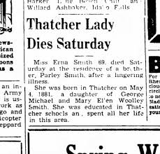 Edna May Smith, daughter of Mary Ellen Woolley and George Michael Smith  obituary 1951. - Newspapers.com