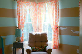 Decorations:Simple Corner Window With Velvet Curtains Ideas Sweet Corner  Window With Orange Chevron Curtains