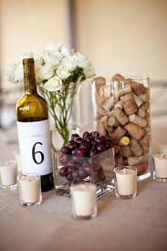 grapes and wine cork centerpiece