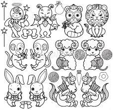 天使と悪魔と動物キャラクター狸ライオン猿羊うさぎ馬線画ぬりえ