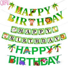 <b>QIFU</b> Dinosaur Happy <b>Birthday</b> Banner Safari Jungle <b>Party</b> Animal ...