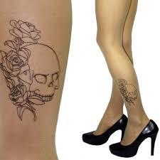 Punčochy S Tetováním Na Lýtku Motiv Lebky