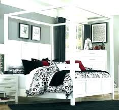Full Size White Canopy Bed Bedroom Sets Frame Twin Metal Off Set ...