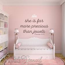 she is far more precious than jewels proverbs 31 10 bible verse decal on baby girl wall art quotes with baby girl poem wall art decals baby girl nursery decals simple