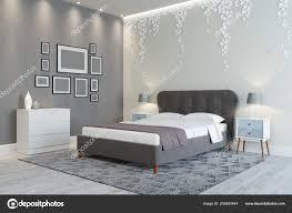 Ein Gemütliches Schlafzimmer Design Helle Farben Wand Dekoriert