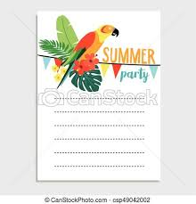 Summer Birthday Party Greeting Card Invitation Parrot Bird Palm Leaves Hibiscus Flowers Paper Flags Decoration Tropical Jungle Design Web