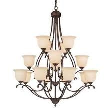 16 light rubbed bronze chandelier with turinian scavo glass