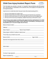10 Child Care Incident Report Example Weekly Template