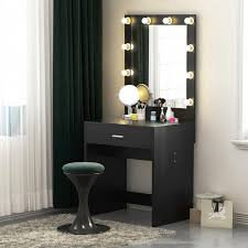 Mirror With Lights Ebay Tribesigns Lighted Vanity Table Set With Huge Mirror For