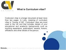 What Does Cv Stand For In Resume Cv Stands For Curriculum Vitae
