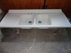 Vintage Double Basin Drainboard Cast Iron Farm Farmhouse Kitchen Sink  Antique | EBay Vintage Farmhouse Sink