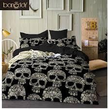 bonenjoy black color duvet cover queen size luxury sugar skull bedding set king size 3d skull
