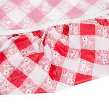 red gingham 60 round plastic tablecloth with elastic image preview main picture image preview