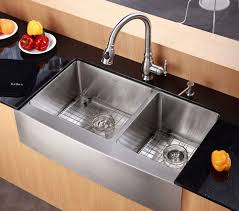 a front stainless steel sink by kraus kraus khf203 36 farmhouse double bowl kitchen sink