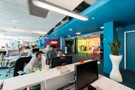 google office space. this area reflects the use of themed decor to set mood and promote specific activities google office space r