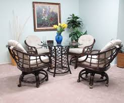 furniture dark brown wicker dining room chairs with casters and with regard to the most elegant