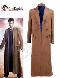 doctor who tenth 10th doctor brown trench coat costume
