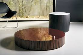 Minimalist Design Of Round Contemporary Coffee Tables Made Of Wooden  Material In Brown