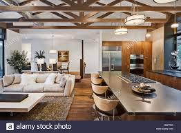 Offener Grundriss Des Hauses Mit Küche Wohnzimmer Und