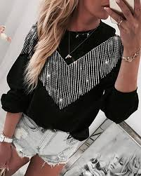 Tassel Design Patch Long Sleeve Blouse, Black - chicme.com ...