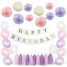 Purple Happy Birthday Banner Purple And Pink Birthday Decorations Pom Poms Flowers Kit Happy