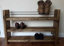 shoe rack rustic decor reclaimed wood with regard to storage plan 17